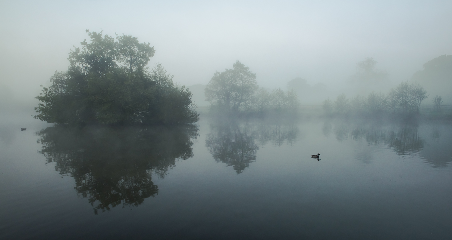 Early morning at a lake in the south of england