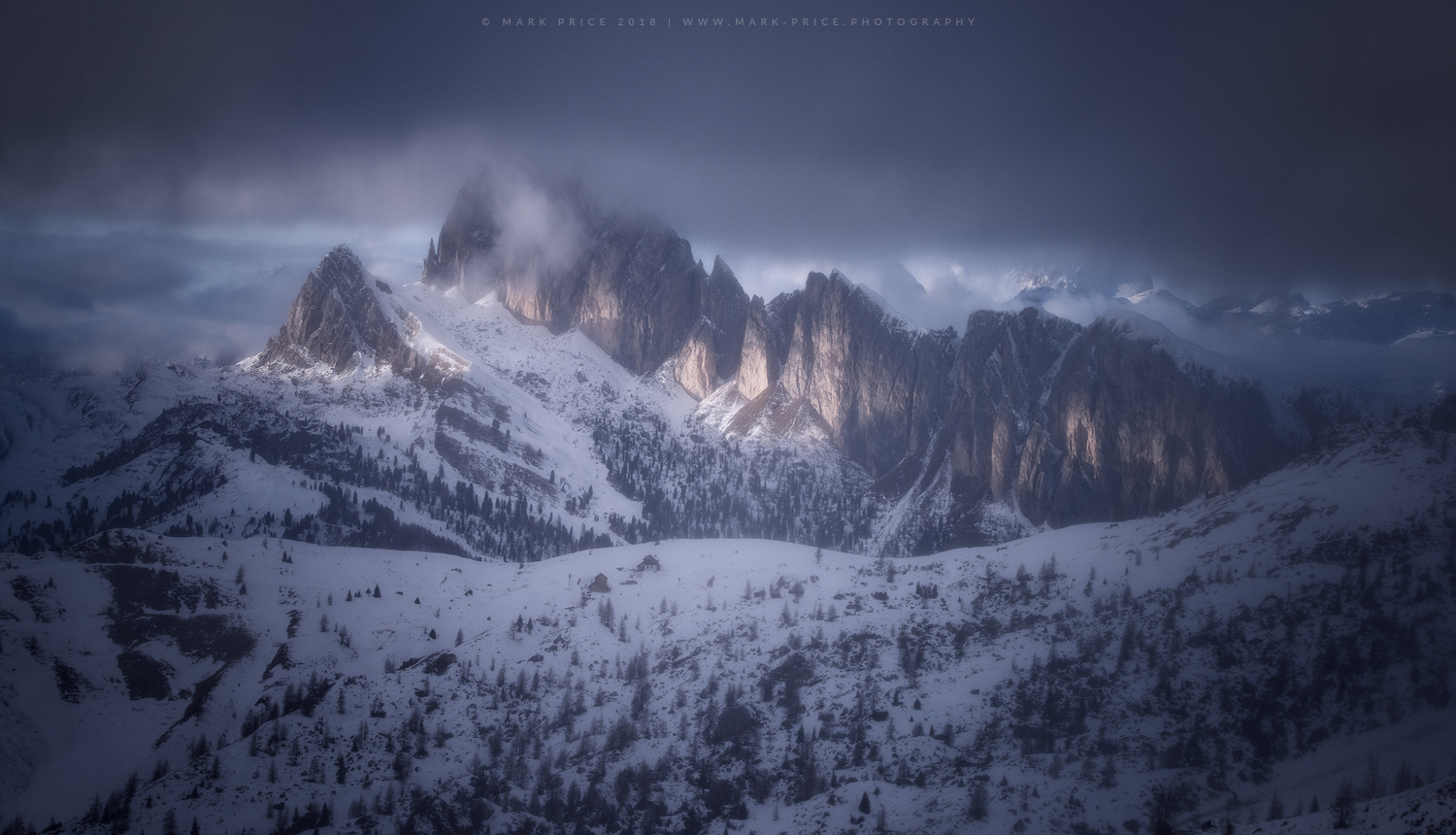 The Setsass range during stormy winter light in the Dolomites