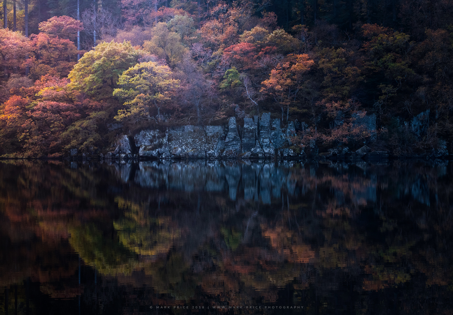 Autumn reflects in a Trossachs Lake, Scotland