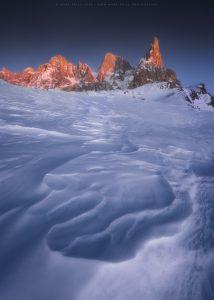 Cimon Della Pala at twilight in the peak of winter