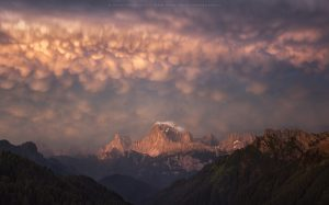 An insane display of Mammatus cloud across the Dolomites, Italy