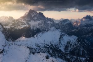 Mt Civetta as the first light of day hits the upper Dolomites