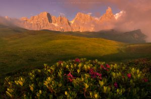 Cimon Della Pala during intense evening light in Italy
