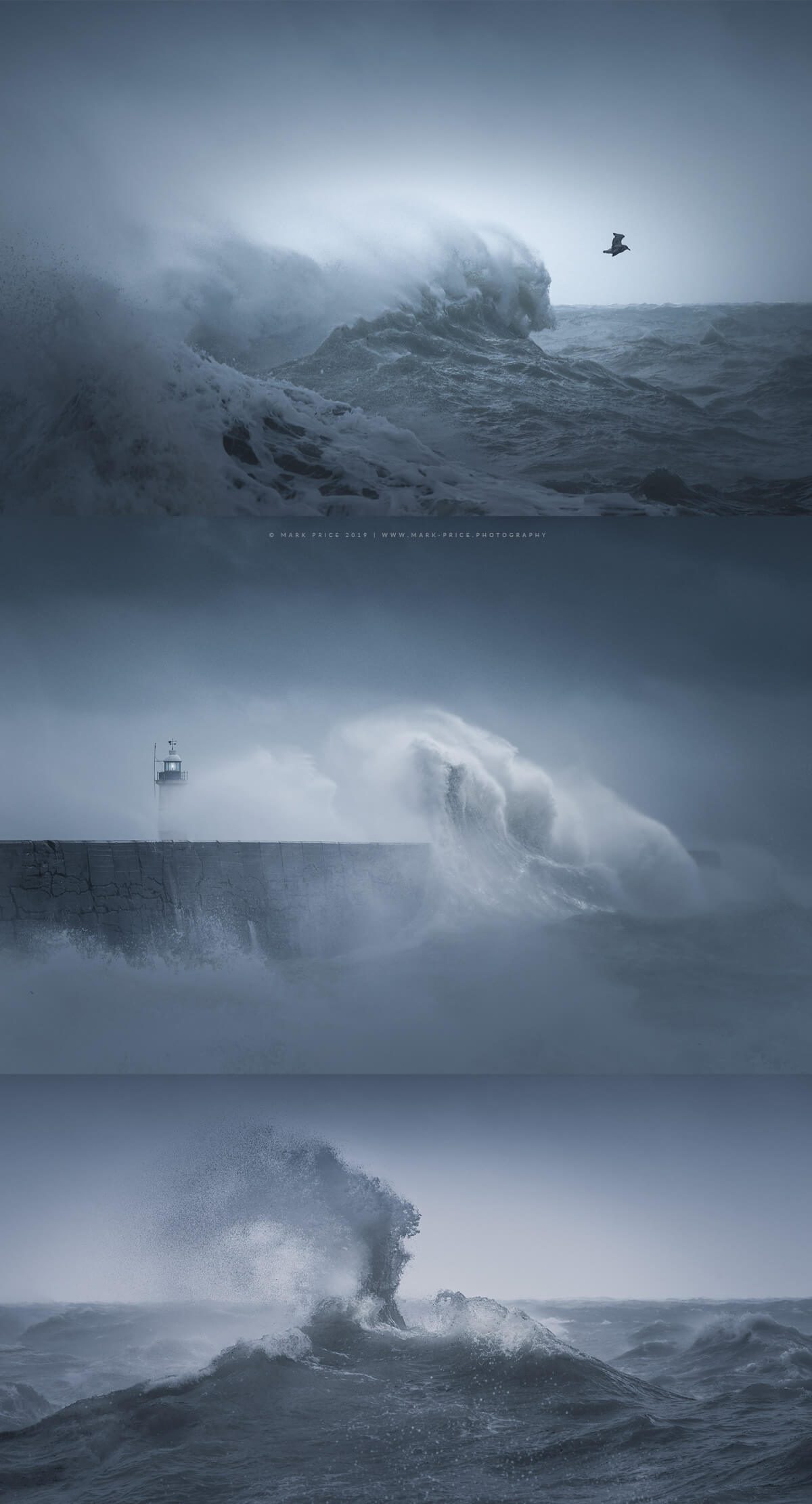 A 3 set of seascape images from Sussex by Mark Price