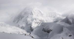 The Swiss Alps above Zermatt as a snowstorm approaches