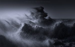 An explosion of waves in the ocean during a storm in Southern Englamnd