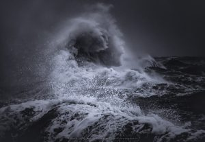 Waves erupt from the ocean during Storm Ciara, England 2020
