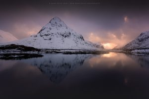 Buchaille Etive Beag with it's winter coat on at sunset, Scotland