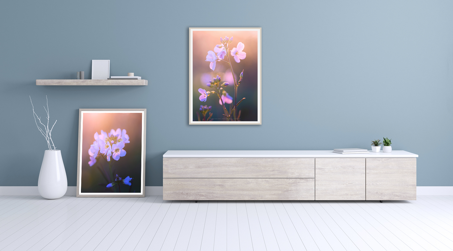 Room mock-up of floral photography art by Mark Price Photography