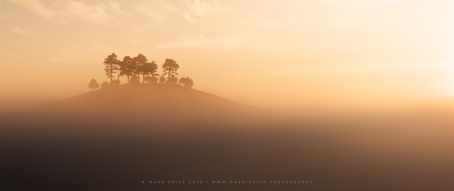 A Dorset hill emerges from the early summer mist, May 2020