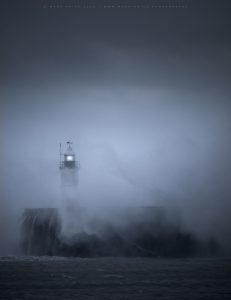The harbour lighthouse at Newhaven in incredible weather conditions