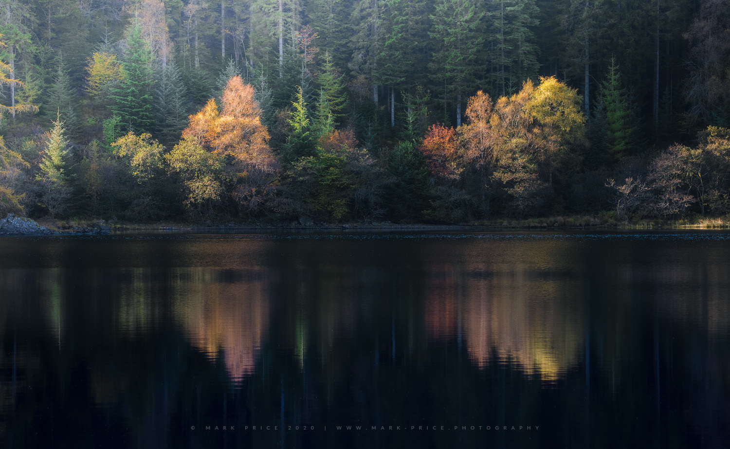 Beautiful shades of Autumn reflect in a still loch, The Trossachs, Scotland