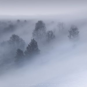 Amazing rolling fog spills over the South Downs, Sussex
