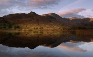 Autumn reflected in a quiet Lake District body of water