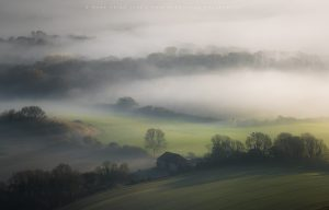 Dreamlike autumnal conditions over the South Downs national park, Sussex
