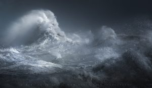 Monstrous waters off the South Coast of England in a summer storm